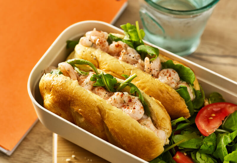 Back to school sandwiches: a St Pierre Brioche Soft Baguette filled with prawns and lettuce