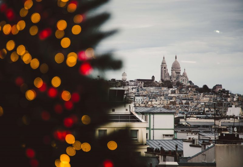 A photo of a Christmas tree in the forefront with Paris scenery in the background