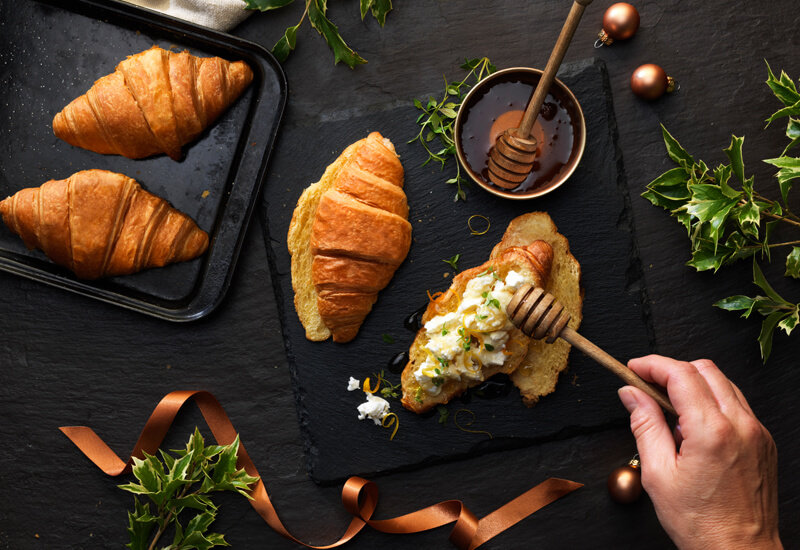 A Christmas croissant recipe featuring honey and goat's cheese