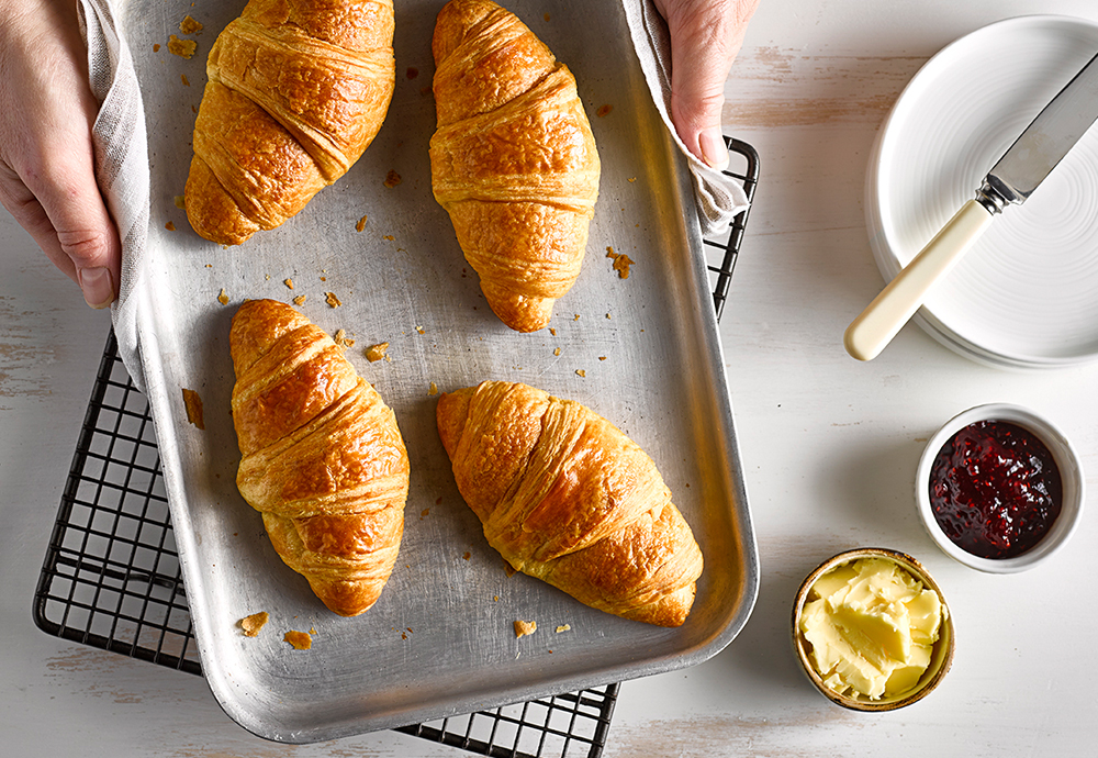 An overhead photo of four croissants on a baking tray being held by a pair of hands with a tea towel