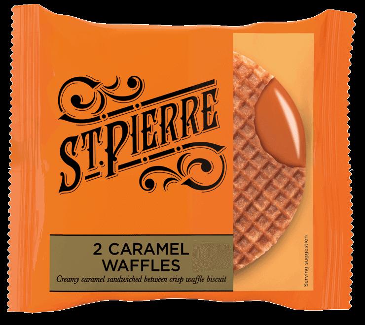 Two St Pierre Caramel Waffles inside packaging
