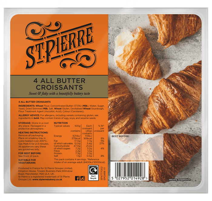 A pack of four St Pierre All Butter Croissants